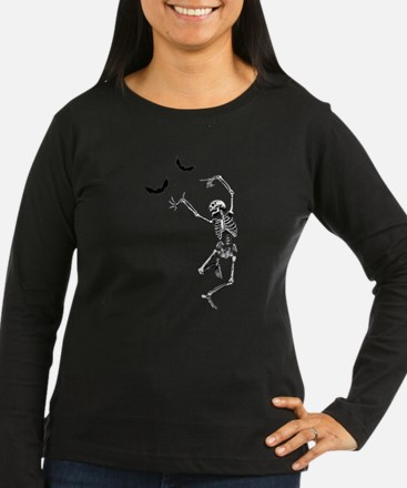 Dancing with the bats -skeleton Long Sleeve T-Shir