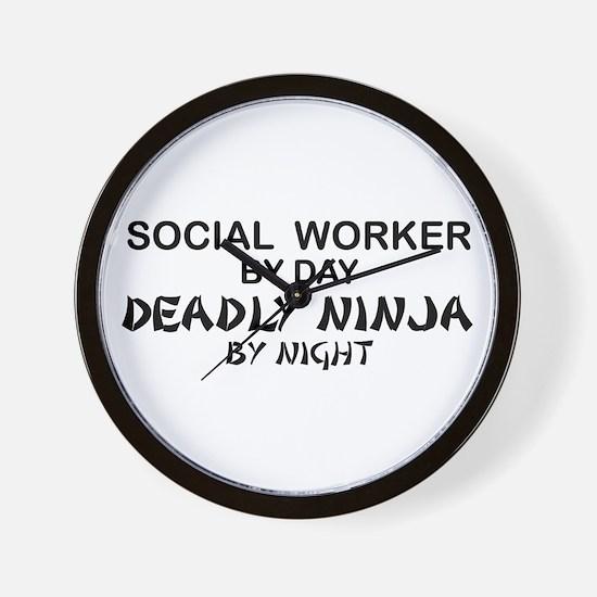 Social Worker Deadly Ninja Wall Clock