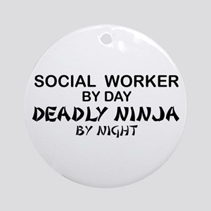 Social Worker Deadly Ninja Ornament (Round)