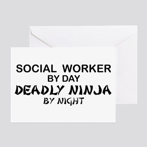 Social Worker Deadly Ninja Greeting Cards (Pk of 1