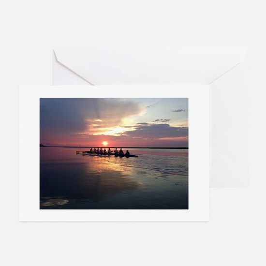 Rowing Sunset Greeting Cards