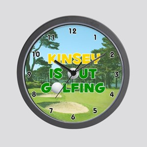 Kinsey is Out Golfing (Gold) Golf Wall Clock