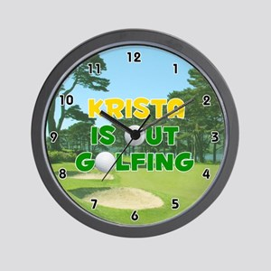 Krista is Out Golfing (Gold) Golf Wall Clock