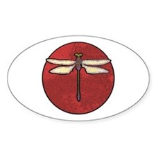 Dragonfly Moon Oval Sticker