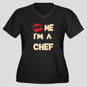 'Kiss Me I'm A Chef Women's Plus Size V-Neck Dark