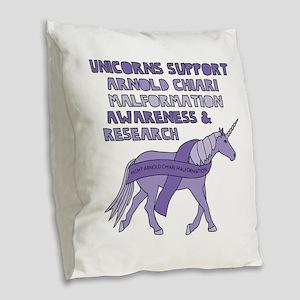 Unicorns Support Arnold Chiari Burlap Throw Pillow