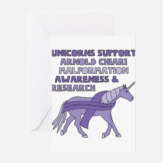 Unicorns Support Arnold Chiari Malf Greeting Cards