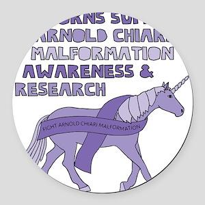 Unicorns Support Arnold Chiari Ma Round Car Magnet