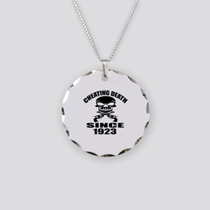 Cheating Death Since 1923 Bi Necklace Circle Charm