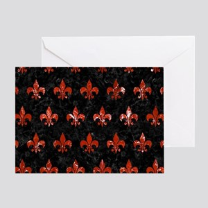 ROYAL1 BLACK MARBLE & RED MARBLE (R) Greeting Card