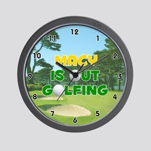 Macy is Out Golfing (Gold) Golf Wall Clock