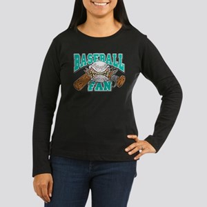 Baseball Fan(Teal) Women's Long Sleeve Dark T-Shir
