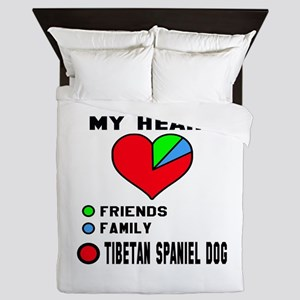 My heart, friend, Family, Tibetan Span Queen Duvet