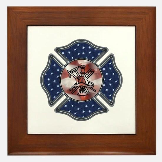 Firefighter USA Framed Tile