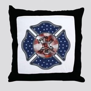 Firefighter USA Throw Pillow