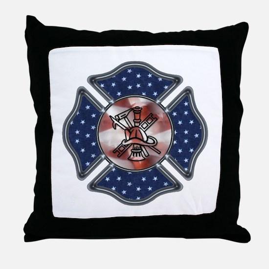 Firefighter USA Throw Pillow