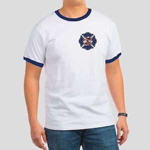 Firefighter Usa Ringer T T-Shirt