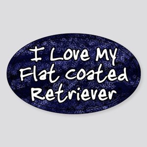 Funky Love Flat Coated Retriever Oval Sticker