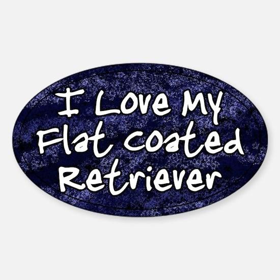 Funky Love Flat Coated Retriever Oval Decal