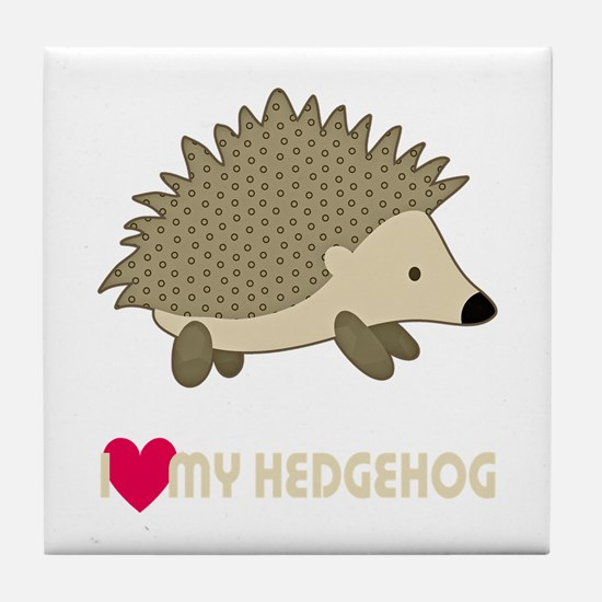 I Love My Hedgehog Tile Coaster