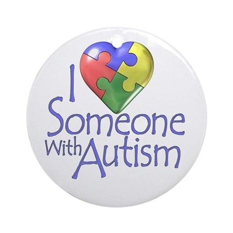 Autism awareness puzzle heart Ornament (Round)