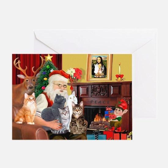 Santa's Five Cats Greeting Card