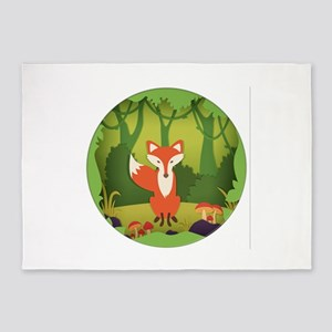 Fox in the Forest. 5'x7'Area Rug