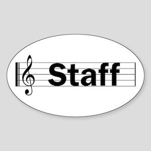 Music Staff Oval Sticker