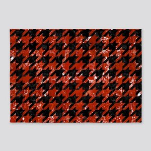 HOUNDSTOOTH1 BLACK MARBLE & RED MAR 5'x7'Area Rug