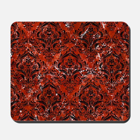 DAMASK1 BLACK MARBLE & RED MARBLE (R) Mousepad