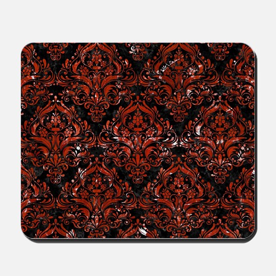 DAMASK1 BLACK MARBLE & RED MARBLE Mousepad