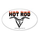Hot rod skull flames Oval Sticker
