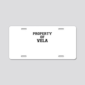 Property of VELA Aluminum License Plate
