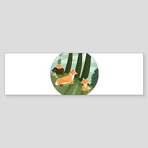 Woodland Foxes Bumper Sticker