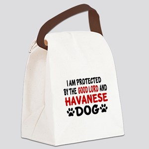 Protected By Havanese Dog Canvas Lunch Bag