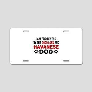 Protected By Havanese Dog Aluminum License Plate