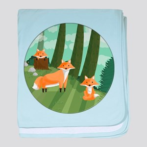 Woodland Foxes baby blanket