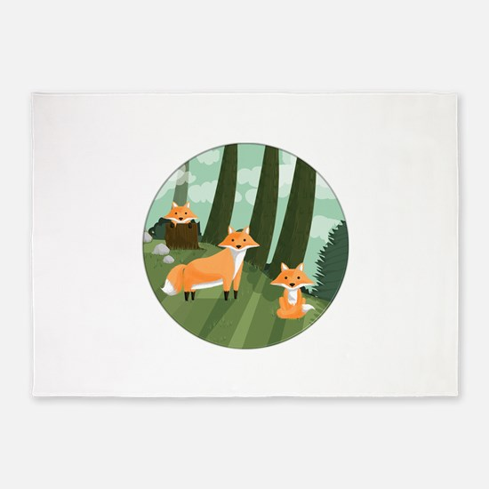 Woodland Foxes 5'x7'Area Rug