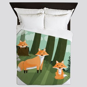 Woodland Foxes Queen Duvet