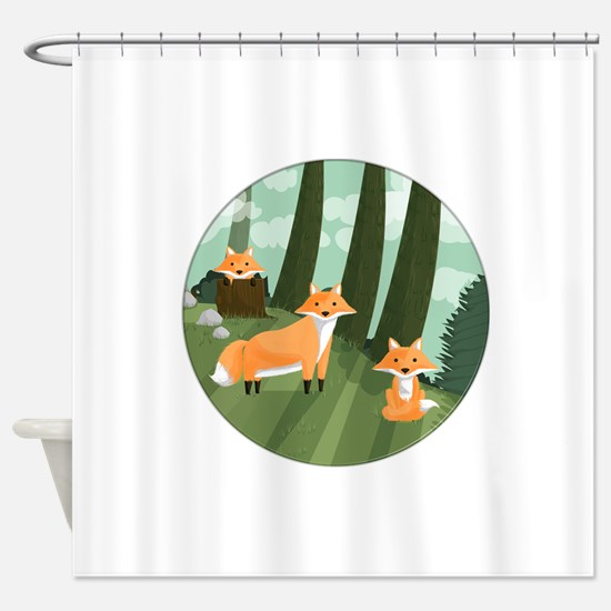 Woodland Foxes Shower Curtain
