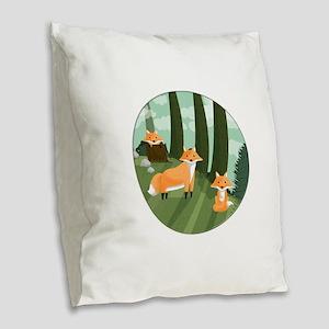 Woodland Foxes Burlap Throw Pillow