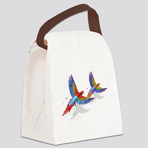 tROPICAL mACAWS in Flight. Canvas Lunch Bag