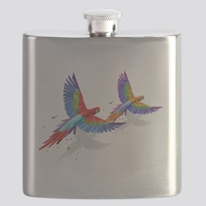 tROPICAL mACAWS in Flight. Flask
