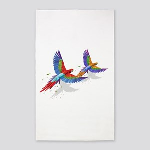tROPICAL mACAWS in Flight. Area Rug