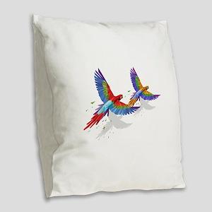 tROPICAL mACAWS in Flight. Burlap Throw Pillow