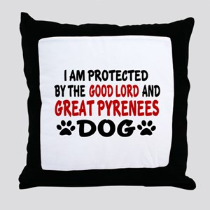 Protected By Great Pyrenees Dog Throw Pillow