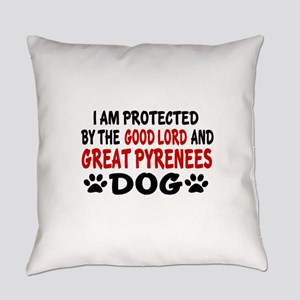 Protected By Great Pyrenees Dog Everyday Pillow