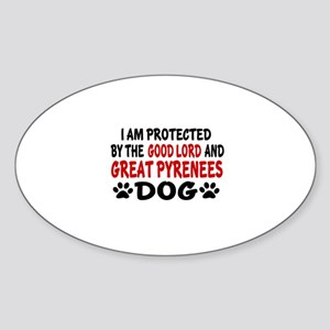 Protected By Great Pyrenees Dog Sticker (Oval)