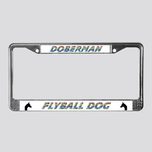 Doberman Flyball License Plate Frame