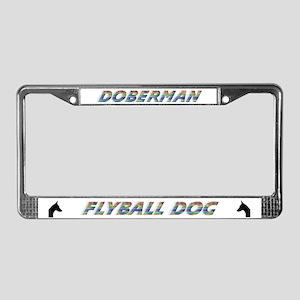 Doberman Flyball License Plate Frame